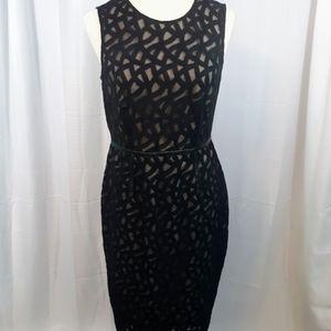 Vince Camuto leather trim lattice lace dress sz 8